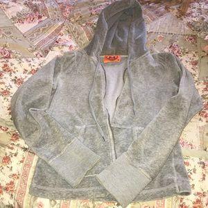 Grey velour hoodie